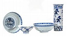 A pair of Chinese blue and white rice bowls, a