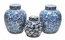 A pair of ginger jars and covers, each of typical