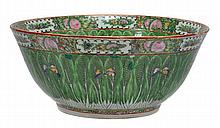 A Chinese Export famille rose punch bowl decorated