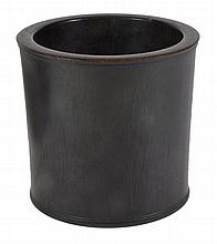 A Chinese hardwood brush pot of , very slightly