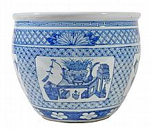 A Chinese blue and white jardiniere decorated