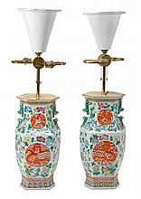 A pair of Chinese famille rose vases, each of
