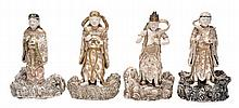 A set of four Satsuma style pottery figures of