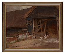 Frederick Hall (1860-1948) - Chickens in a Stable