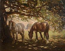 Frederick Hall (1860-1948) - Two Horses in the Shade