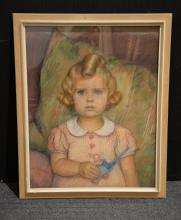 Walter Bernuth Portrait of a girl with toy Pastel Signed and dated 37