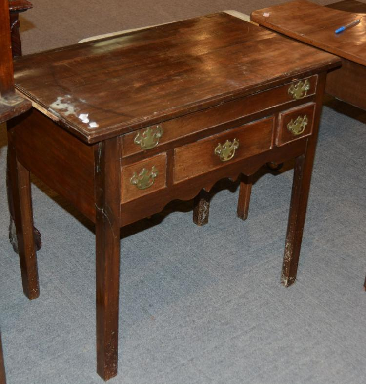 A george iii mahogany side table with one narrow long drawe for Long narrow side table