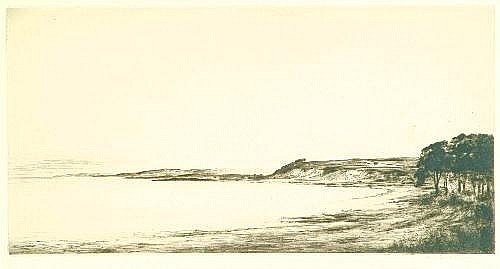 Johnstone Baird Coastal landscape Etching Signed in pencil within the margin lower right 18.5cm x 36.5cm H. Colby Parish Church Etching Signed and dated 1930 lower right P. 25cm x 35cm Robertson Fox; Hare Each etching Each signed indistinctly lower