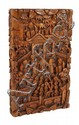 A small Chinese wood card case intricately carved