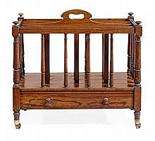 A Victorian rosewood Canterbury, circa 1840, with