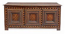 A Charles II panelled oak chest, circa