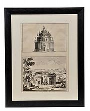 A group of framed prints and engravings of