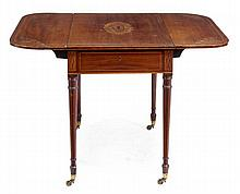 A George III mahogany and marquetry Pembroke