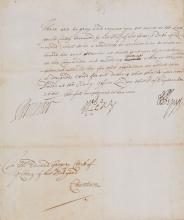 Pepys (Samuel) - Manuscript document, signed,
