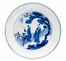 A Chinese blue and white imperial saucer dish,