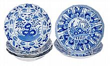 A pair of blue and white dishes, each of shallow,