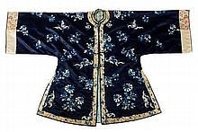 A Chinese informal jacket of blue satin