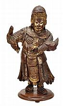 A lacquered wood figure of a Chinese general, he