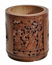 A Chinese bamboo brush pot of typical cylindrical