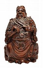 A bamboo carving of a Chinese general, possibly