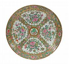A Canton famille rose charger of slightly dished,