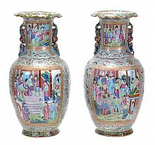 A pair of Cantonese style vases, each of a tapered