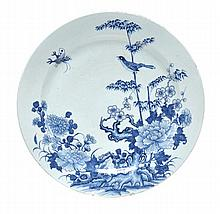 A large Chinese blue and white charger of dished,