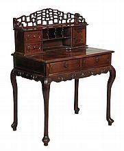 A Chinese rosewood writing desk, 20th century , with cabriole legs