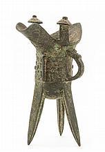 A bronze ritual tripod wine vessel, jue, Qing dynasty