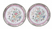 A pair of Canton enamel saucer dishes, 18th century , of deep