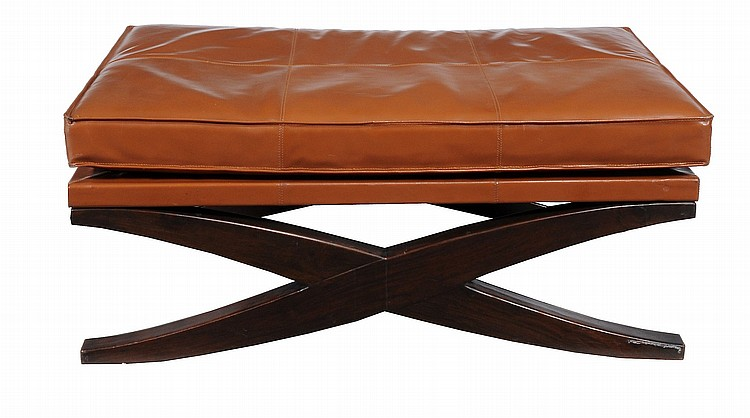 A tan leather and stained wood coffee table bench of recent for Coffee tables 80cm wide