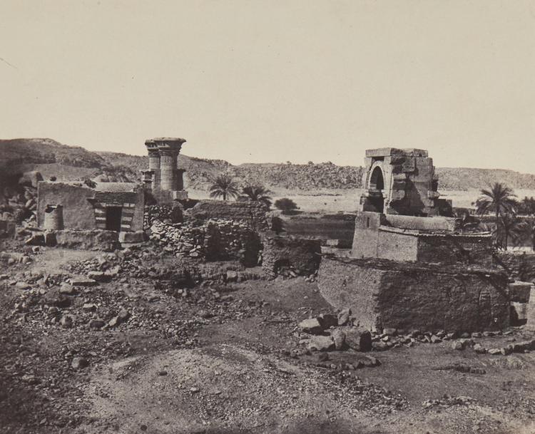Maxime Du Camp (1822 - 1894) - Village et Temple de l'Ile de Béghée, Nubie, 1850