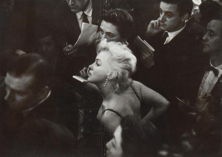 Eve Arnold (1912-2012) - Marilyn Monroe & Laurence Olivier at a Press Conference at the Plaza Hotel, 1956