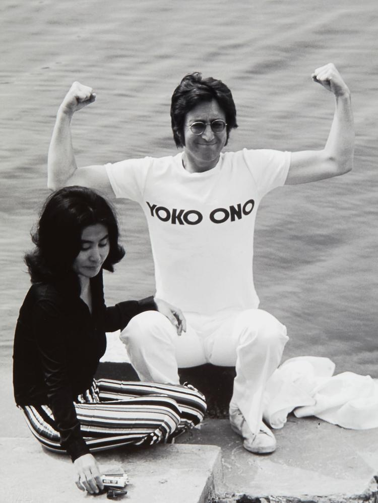 Jean Pierre Fizet (b.1942) - John Lennon and Yoko Ono, Cannes, 1971