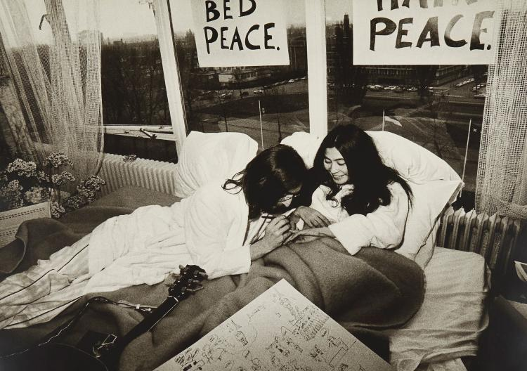 Tony Grylla (b.1941) - John Lennon and Yoko Ono, Bed Sitting, Amsterdam, 1968