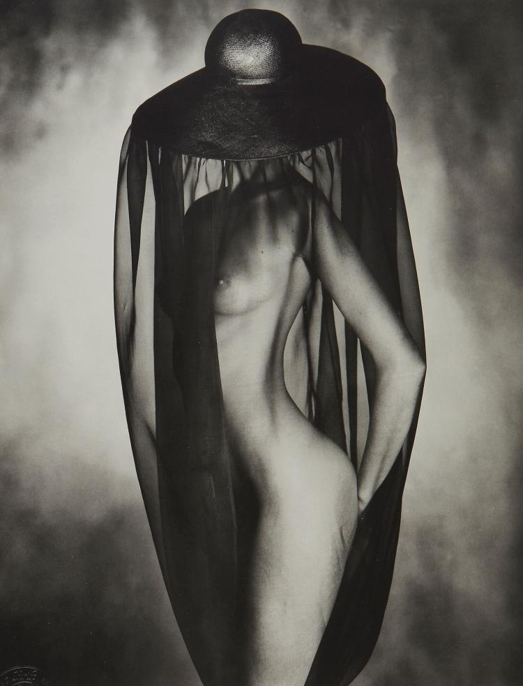 John Swannell (b.1946) - Nude under Black Hat, ca. 1980