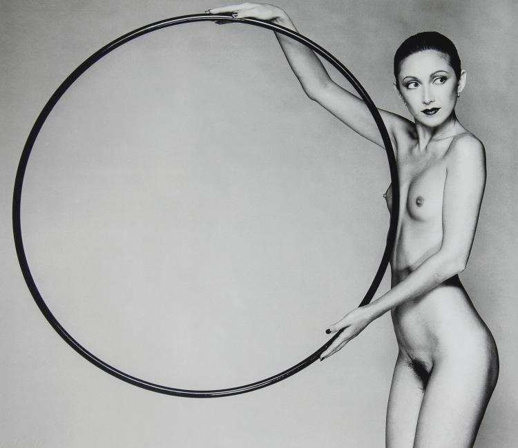 John Swannell (b.1946) - Nude with Hoop, ca. 1980