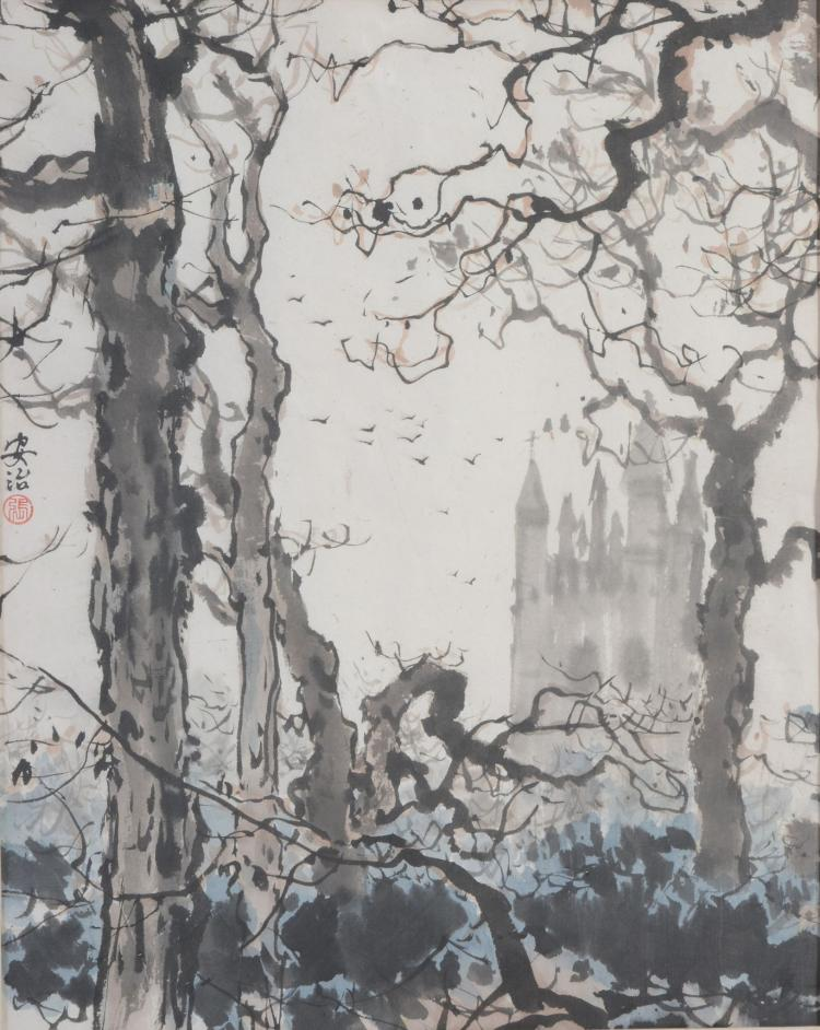 Zhang Anzhi Probably depicting the Bell Tower of Magdalen College