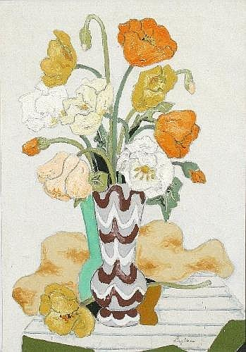 Jean Francis Laglenne (French 1899-1962) Still life of poppies in a vase Oil on canvas Signed lower right 53cm x 36cm