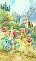 Ernest-Louis Lessieux (1848-1925) Steps with exotic blooms; Continental view with towers beyond Each watercolour Each signed lower left Each 46.5cm x 28cm (2) (see illustration), Louis Ernest Lessieux, Click for value