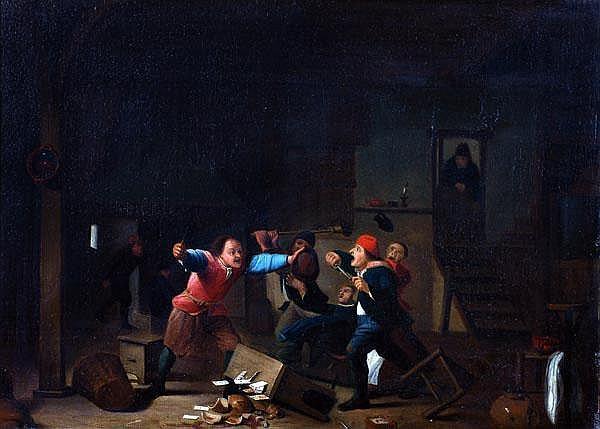 Manner of Adrian Van Ostade A brawl in a tavern