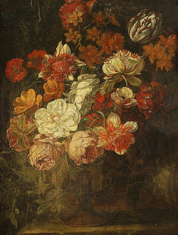 Circle of Cornelis Kick Still life of flowers in a