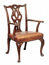 A George III mahogany elbow chair, circa 1780,