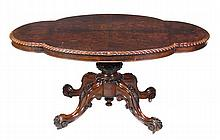A Victorian burr and figured walnut centre table,