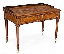 A Regency mahogany and ebony strung side table,