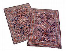 A pair of Afshar rugs, the indigo field with a