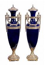 A pair of gilt metal mounted bleu celeste