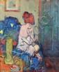 Ken Moroney (b. 1949) A seated model Oil on board