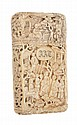 A Chinese Export ivory card case typically carved