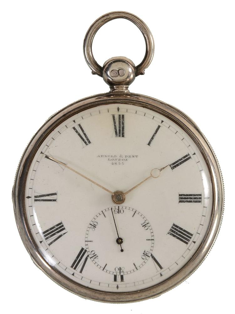 A silver cased open-faced duplex pocket watch Arnold and Den